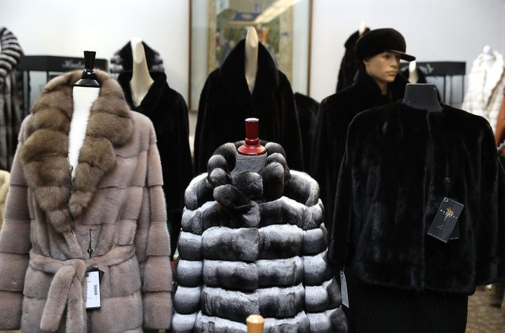 Brand new fur coats are displayed at B.B. Hawk in San Francisco on Wednesday. City officials on Tuesday unanimously voted to