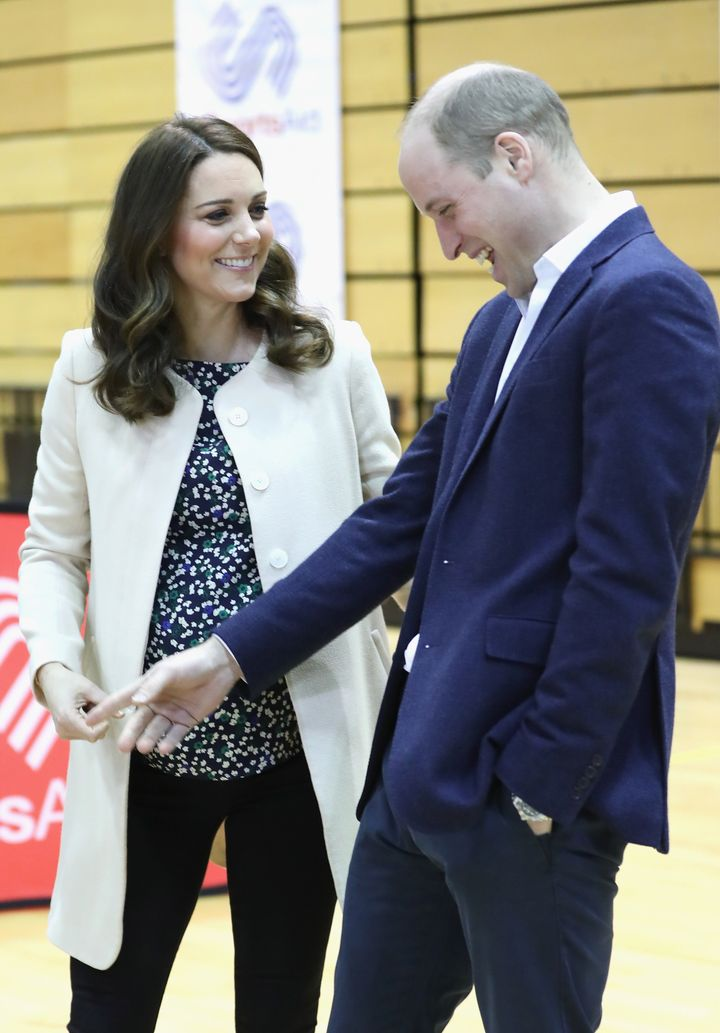 Prince William, Duke of Cambridge and Catherine, Duchess of Cambridge meet wheelchair basketball players, some of whom hope to compete in the 2022 Commonwealth Games in Birmingham, during their visit to the Copperbox Arena on 22 March 2018 in London, England.