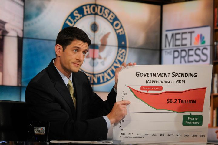Rep. Paul Ryan (R-Wis.) points at a new friend during an appearance on 'Meet the Press' on April 10, 2011.
