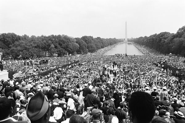 Crowds gather at the National Mall during the March on Washington for Jobs and Freedom.