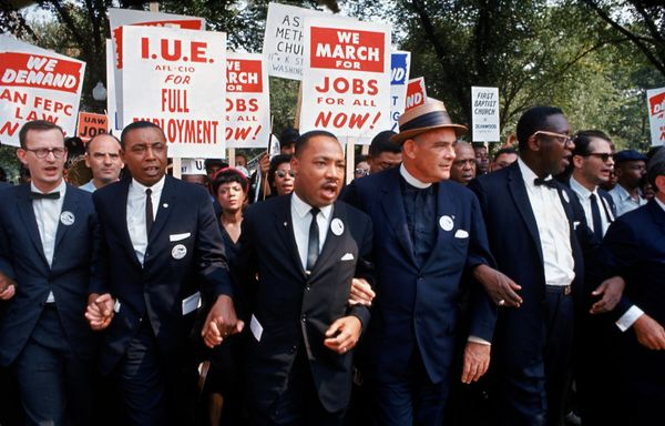 Leaders of the March on Washington for Jobs and Freedom, including Martin Luther King Jr., demonstrate on Aug. 28, 1963 in Wa