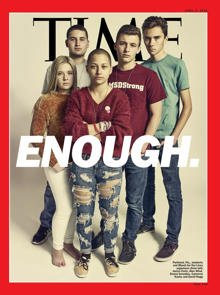 Parkland students and March for Our Lives organizers Jaclyn Corin (L), Alex Wind, Emma González, Cameron Kasky and Dav