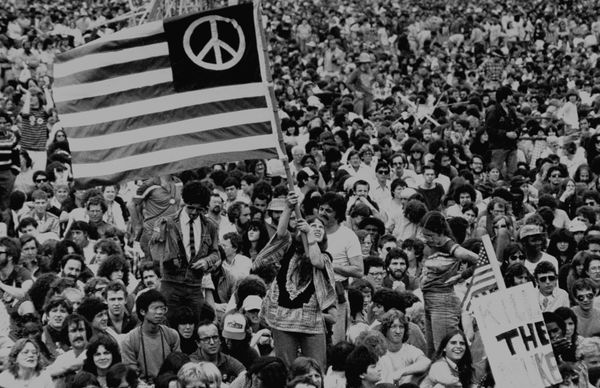 Masses of people gather in New York City's Central Park for an anti-nuclear demonstration on June 12, 1982.