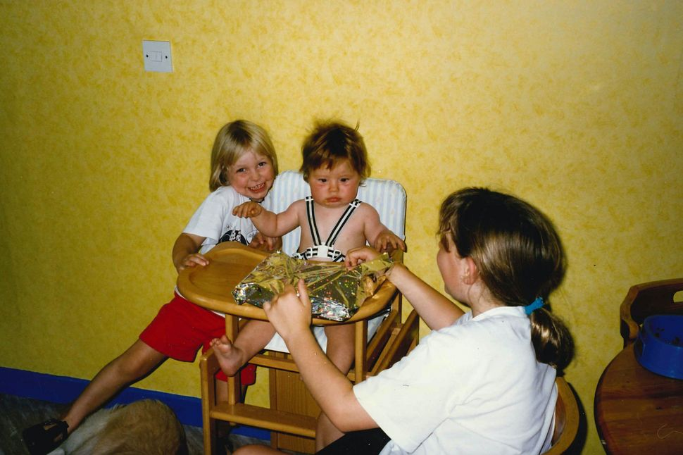 Then: Lizzy (L), Ellie (middle) and Victoria (R) in 1997.