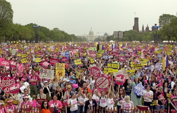 With the U.S. Capitol in the background, thousands of pro-choice supporters take part in the March For Women's Lives on the N