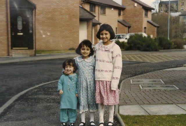 Then: Anoosh (L), Wajeeha (middle), Madeeha (R) in 1995.