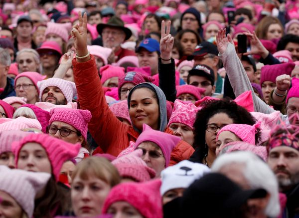People gather for the Women's March on Washington on Jan. 21, 2017, the day after the inauguration of President Donald Trump.
