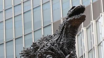 A Godzilla statue is unveiled at a shopping mall in Tokyo on March 22, 2018. Measuring 3 meters in height, it is the largest Godzilla statue in Japan. (Kyodo) ==Kyodo (Photo by Kyodo News via Getty Images)