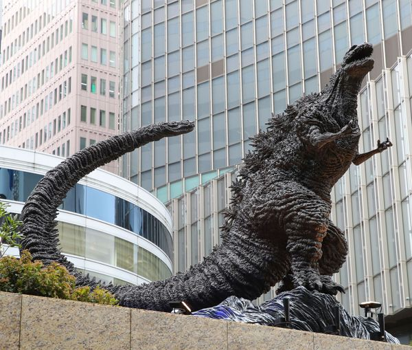 A new Godzilla statue is displayed at a shopping mall in Tokyo on March 22.