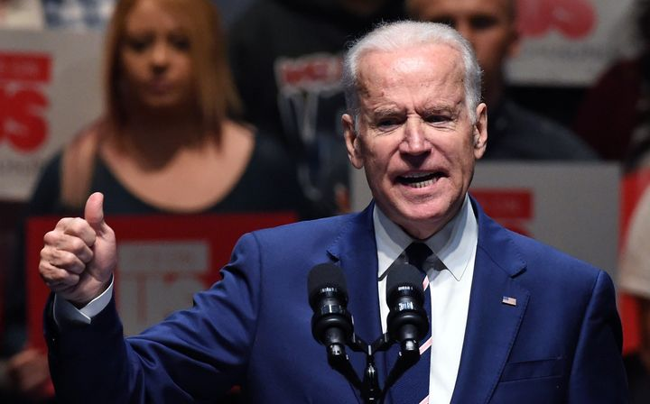 Then-Vice President Joe Biden speaks to students in Las Vegas on April 7, 2016, as part of the national It's On Us Week of Ac