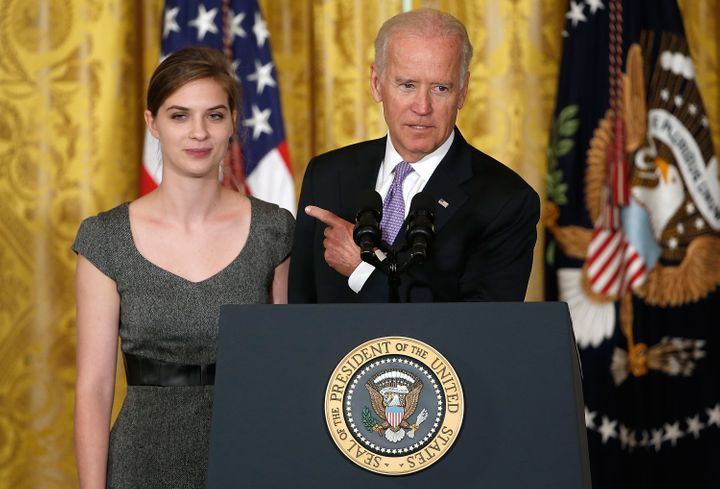 Biden introduces Lilly Jay, a survivor of sexual assault, at the launch of the It's On Us campaign on Sept. 19, 201