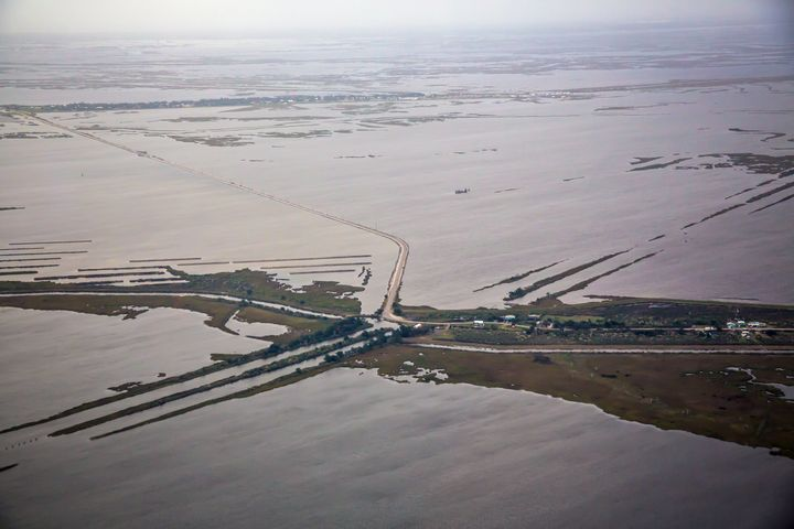 Aerial view of Island Road leading to Isle de Jean Charles.