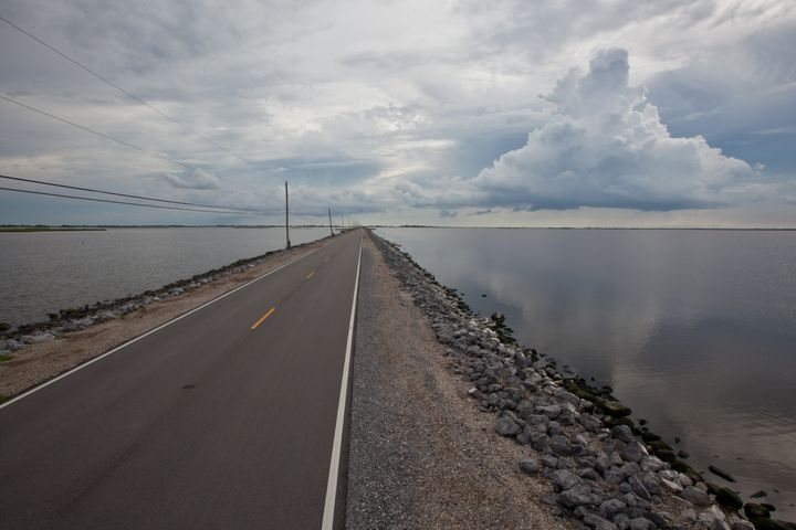 Island Road that connects Isle de Jean Charles to Pointe-aux-Chien in Terrebonne Parish.