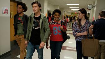 DF-05615_05614_R2_COMP – L-R: Jorge Lendeborg (Nick), Nick Robinson (Simon), Alexandra Shipp (Abby), and Katherine Langford (Leah) star in Twentieth Century Fox's LOVE, SIMON. Photo Credit: Ben Rothstein.