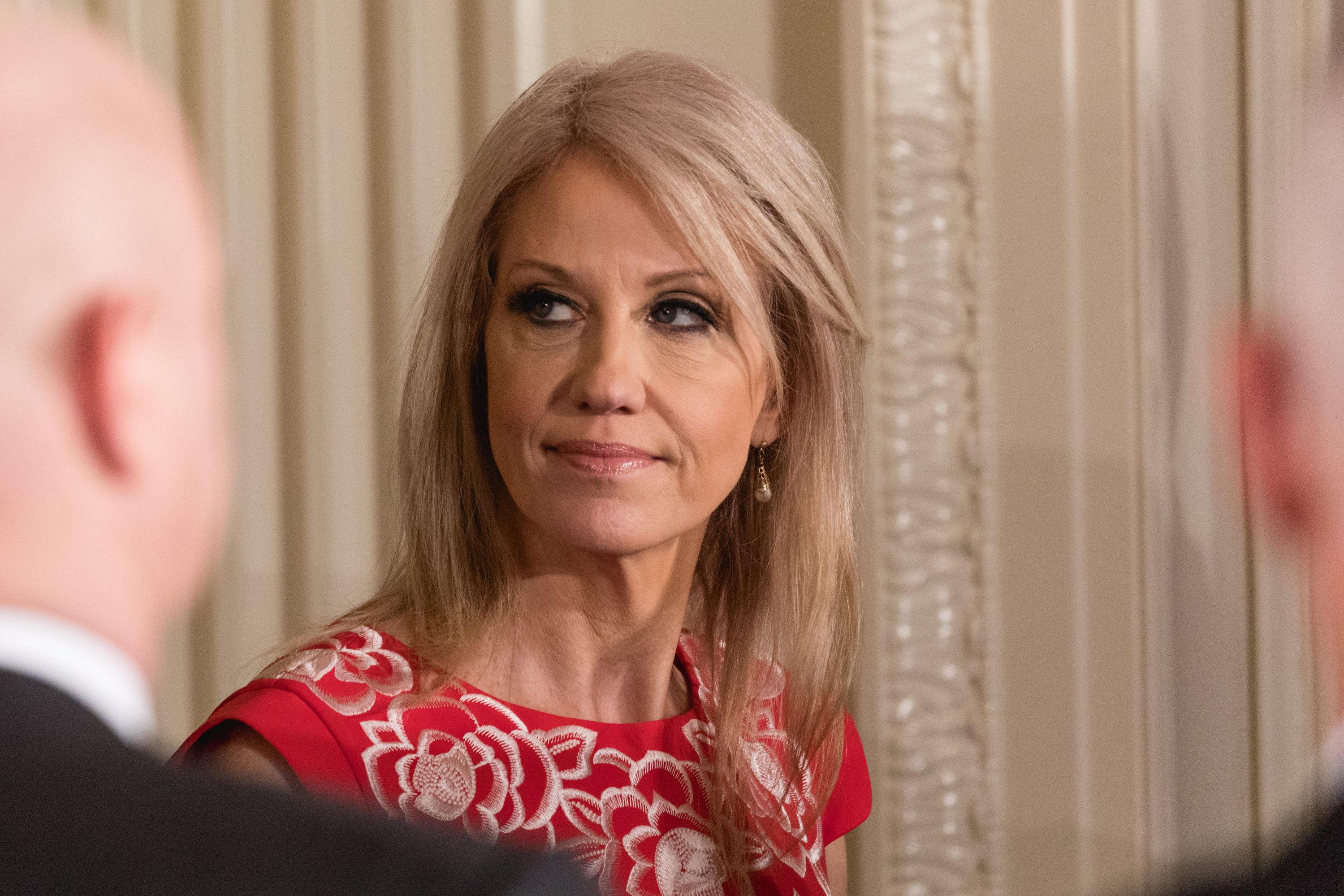 White House Counselor to the President Kellyanne Conway, was in attendance for the joint press conference of U.S. President Donald Trump, and Prime Minister Malcolm Turnbull of Australia, in the East Room of the White House, on Friday, February 23, 2018. (Photo by Cheriss May/NurPhoto via Getty Images)