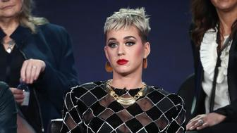 PASADENA, CA - JANUARY 08:  Judge Katy Perry of the television show American Idol speaks onstage during the ABC Television/Disney portion of the 2018 Winter Television Critics Association Press Tour at The Langham Huntington, Pasadena on January 8, 2018 in Pasadena, California.  (Photo by Frederick M. Brown/Getty Images)