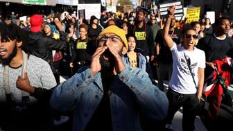 SACRAMENTO, CA - MARCH 22:  Black Live Matter protesters march during a demonstration on March 22, 2018 in Sacramento, California.  Hundreds of protesters staged a demonstration against the Sacramento police department after two officers shot and killed Stephon Clark, an unarmed black man, in the backyard of his grandmother's house following a foot pursuit on Sunday evening.  (Photo by Justin Sullivan/Getty Images)