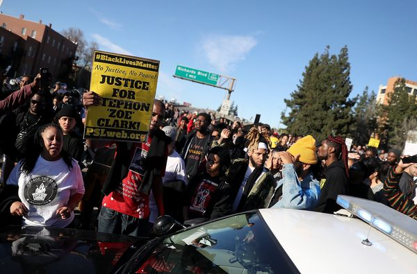Black Lives Matter protesters block Interstate 5 during a demonstration.