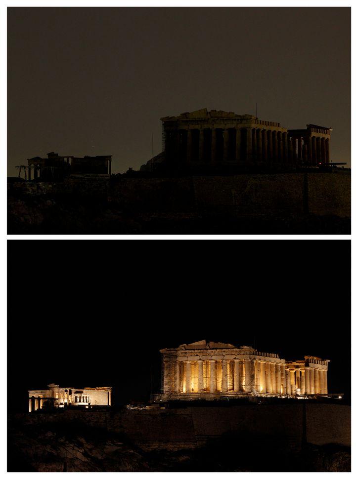 Η Ακρόπολη στην «Ώρα της Γης» του 2010.