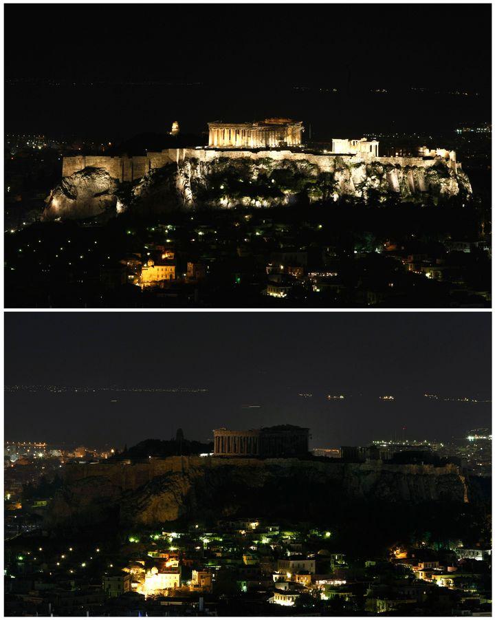 Η Ακρόπολη όταν έσβησαν τα φώτα το 2009.