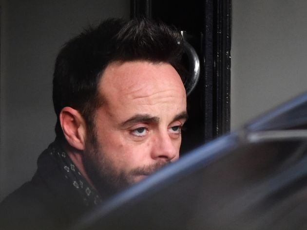 Ant McPartlin leaving a house in west London after he was interviewed by police on the same day it was...
