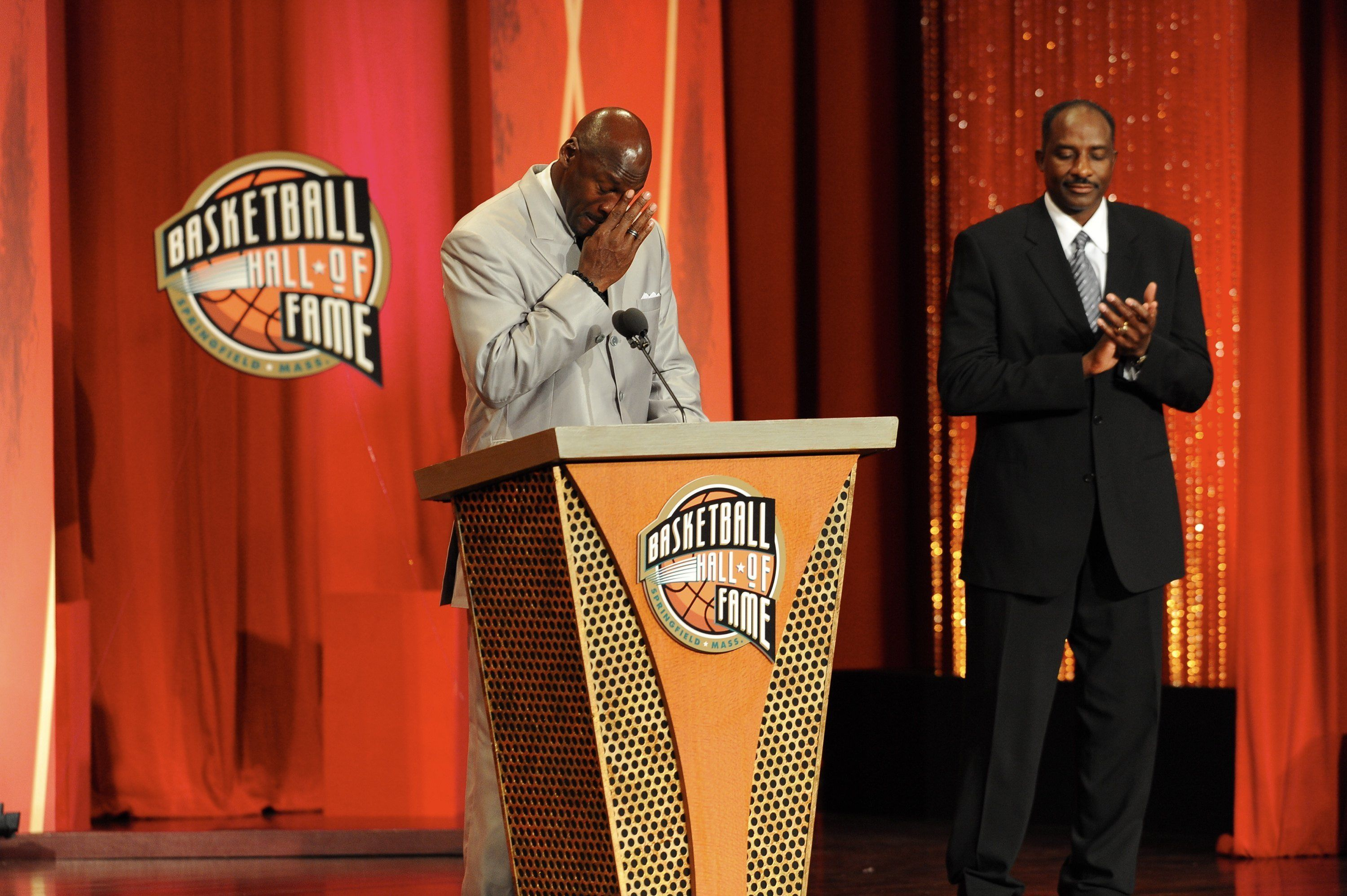 SPRINGFIELD, MA - SEPTEMBER 11: Michael Jordan speaks during the Basketball Hall of Fame Class of 2009 Induction Ceremony at the Symphony Hall on September 11, 2009 in Springfield, Massachusetts.  NOTE TO USER: User expressly acknowledges and agrees that, by downloading and/or using this Photograph, user is consenting to the terms and conditions of the Getty Images License Agreement. Mandatory Copyright Notice: Copyright 2009 NBAE (Photo by Andrew D. Bernstein/NBAE via Getty Images)