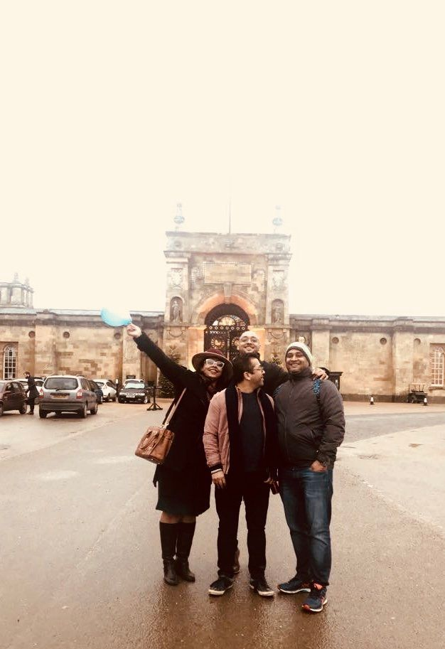 Now: Saket (R), Abhishek (middle at the back) and Parul (L). Parul's husbandis in the middle at...