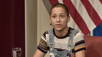 BOSTON, MA - MARCH 20:  Survivor of Stoneman Douglas High School shooting  Emma Gonzalez speaks at a panel discussion titled '#NEVERAGAIN: How Parkland Students are Changing the Conversation on Guns' moderated by Meighan Stone at Harvard University on March 20, 2018 in Boston, Massachusetts.  (Photo by Paul Marotta/Getty Images)