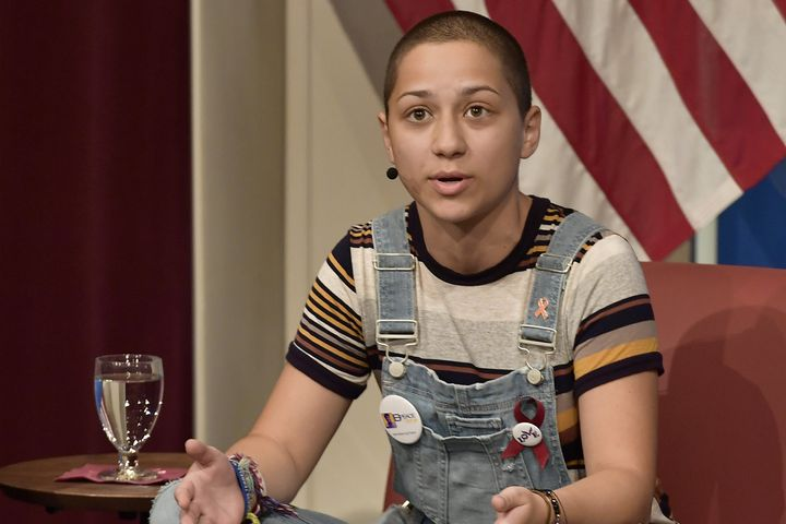 Emma Gonzalez speaks at a panel discussion about gun violence at Harvard University on March 20, 2018.