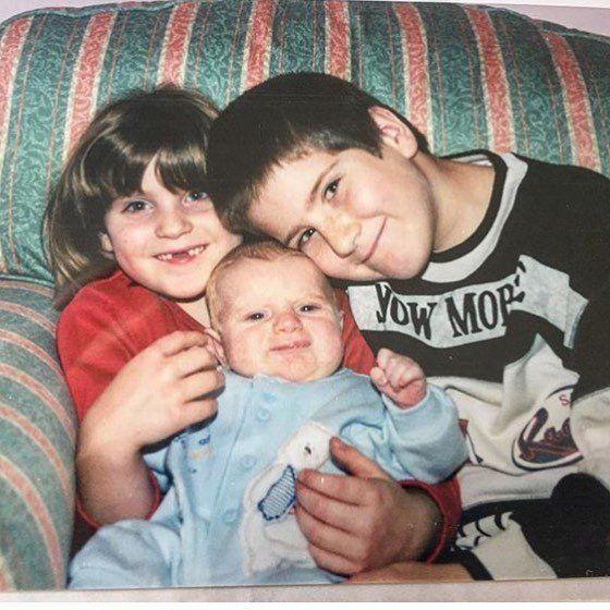 Then: Sara (L),Daniel (middle) andAdam (R) in