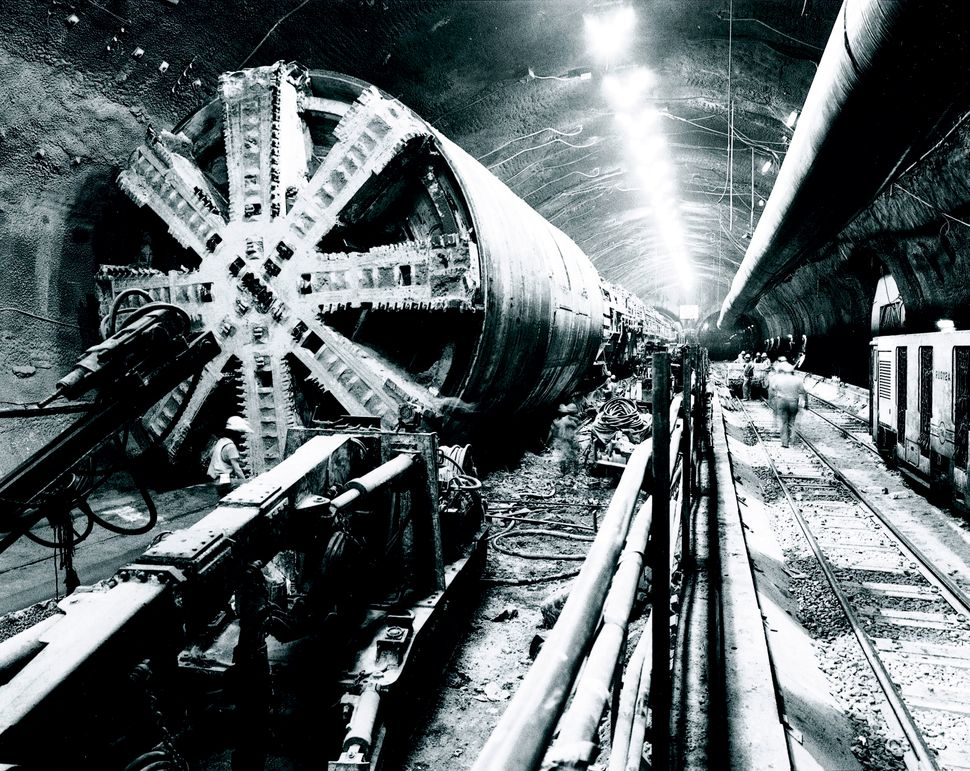 The picture shows the Marine Running Tunnel (South) Boring Machine working its way toward France during the construction of t