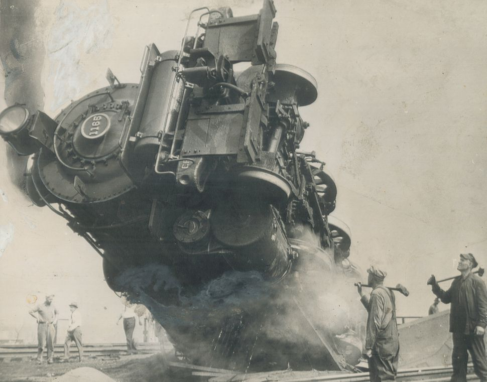 The fireman of this locomotive — one of the largest in use by the Pennsylvania Railroad— was killed and the