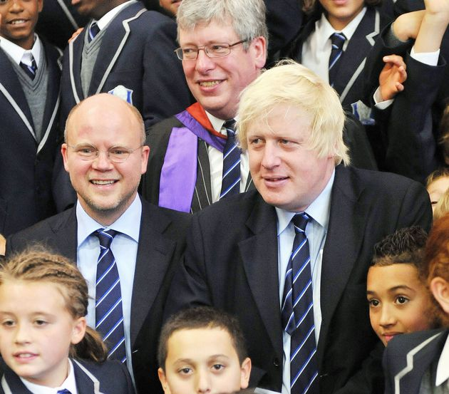 London Mayor Boris Johnson (centre right) and Toby Young (centre left) with Headmaster Thomas Packer...