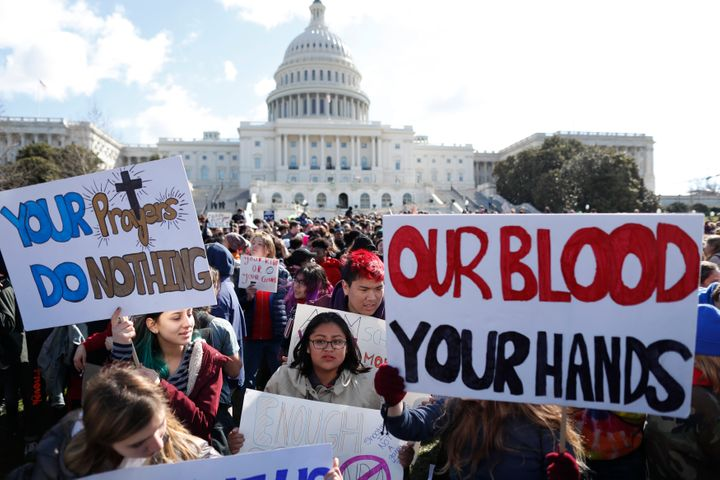 Students in Washington during the National School Walkout on March 14.