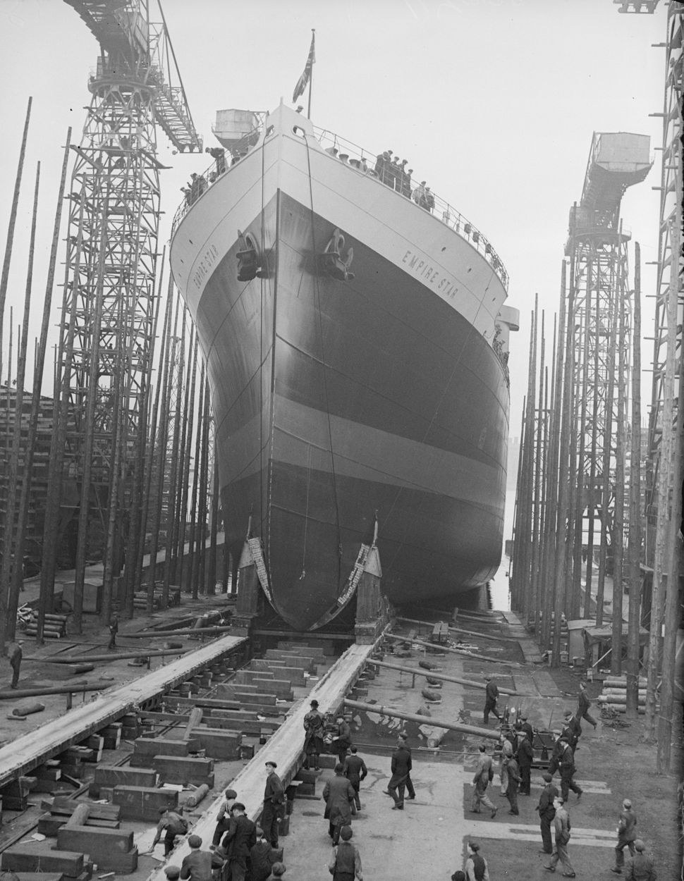 The launch of the Empire Star at a shipyard in Belfast on Sep. 26, 1935. The ship was lost in 1942 while carrying WWII ammuni