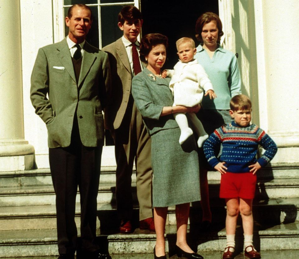 Prince Charles stood at the back of a family portrait alongside his parents, brothers and
