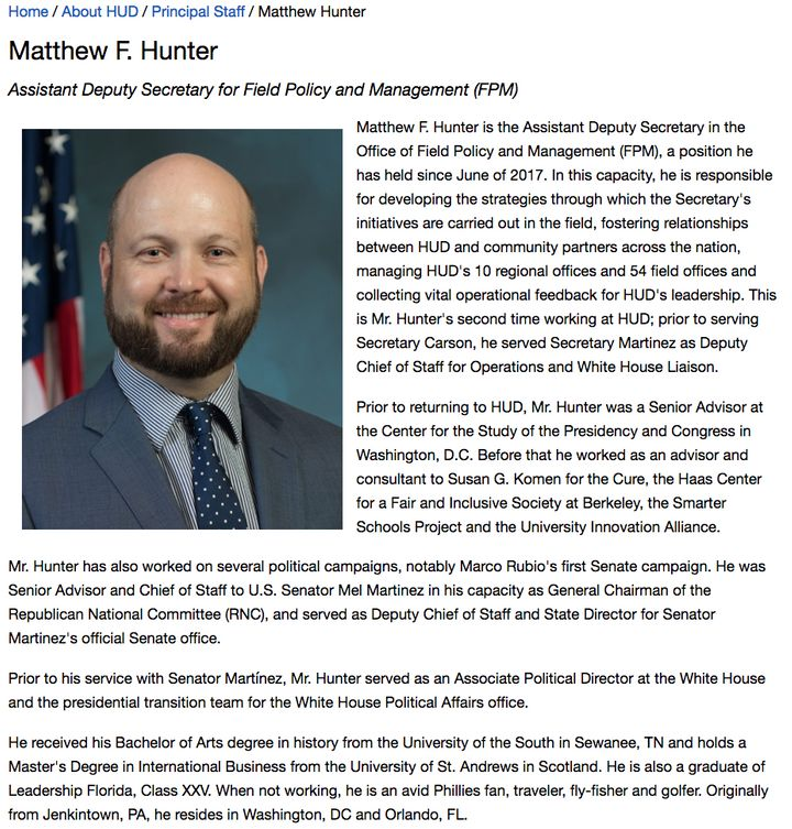 Matthew Hunter's bio doesn't list his previous job at Cambridge Analytica.