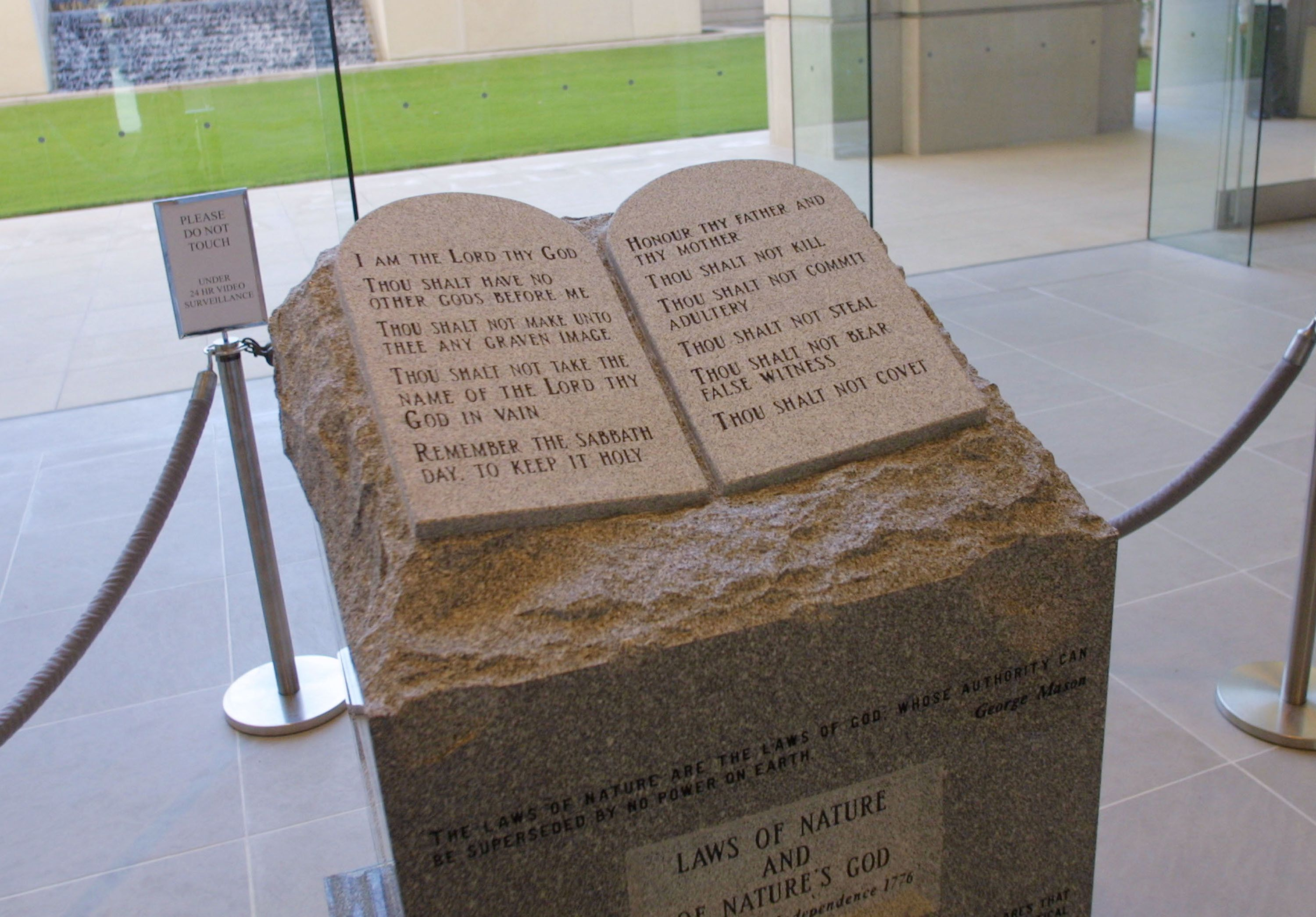 MONTGOMERY, AL - NOVEMBER 18:  The Ten Commandments memorial rests in the lobby of the rotunda of the State Judicial Building November 18, 2002 in Montgomery, Alabama. U.S. District Judge Myron Thompson ruled November 18, 2002 that the monument violates the constitution's ban on government promotion of religion and must be removed. Thompson gave Alabama Chief Justice Roy Moore 30 days to remove the 5,300-pound granite monument.  (Photo by Gary Tramontina/Getty Images)