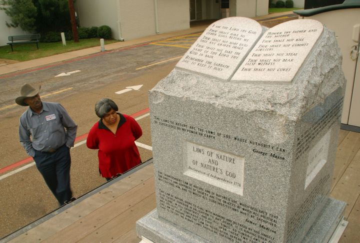 A veterans organization sent the monument that was removed from Alabama's state judicial building on a 15-state tour. It is p