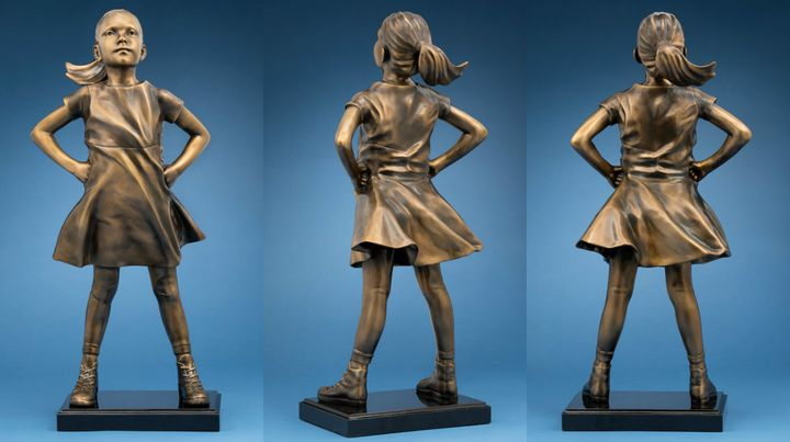 "A photo of the ""fearless girl"" statue for sale."
