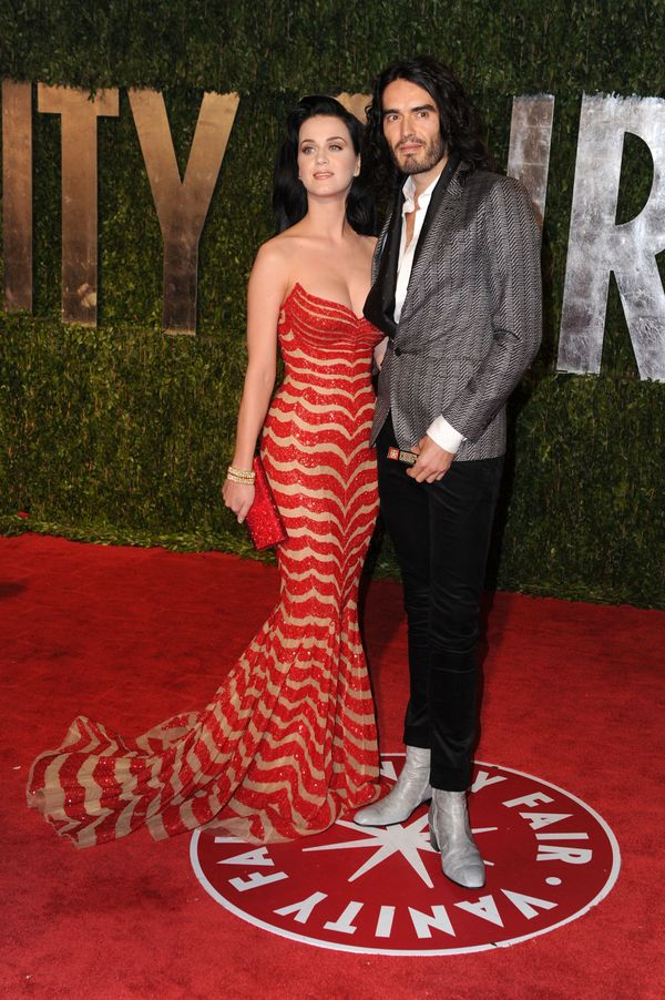 With her then-fiancé, comedian Russell Brand, arriving at the 2010 Vanity Fair Oscar Party at Sunset Tower on March 7,