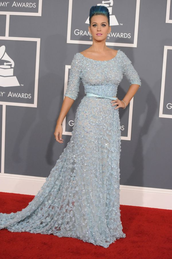 """Wearing <a href=""""http://www.redcarpet-fashionawards.com/2012/02/13/katy-perry-in-elie-saab-couture-2012-grammy-awards/"""" targe"""