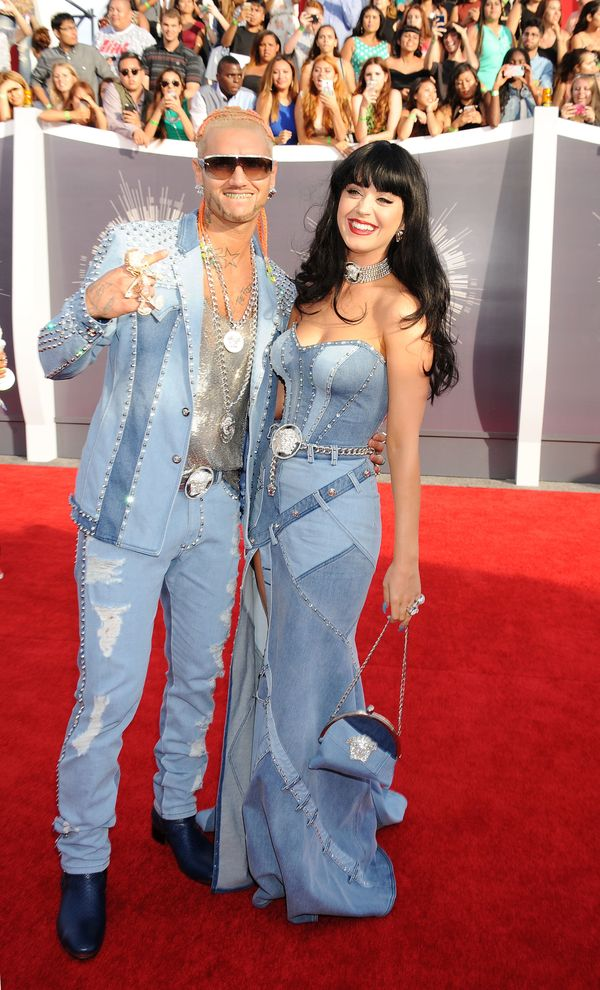 """Perry and rapperRiff Raff wore matching <a href=""""http://www.redcarpet-fashionawards.com/2014/08/25/katy-perry-atelier-v"""