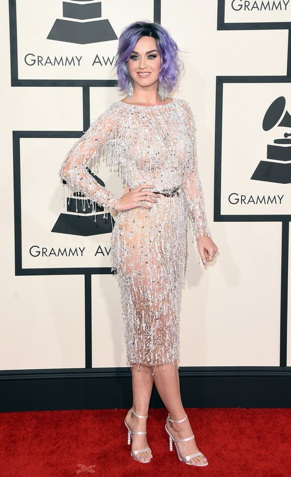 """Wearing <a href=""""http://www.redcarpet-fashionawards.com/2015/02/09/katy-perry-zuhair-murad-couture-2015-grammy-awards/"""" targe"""