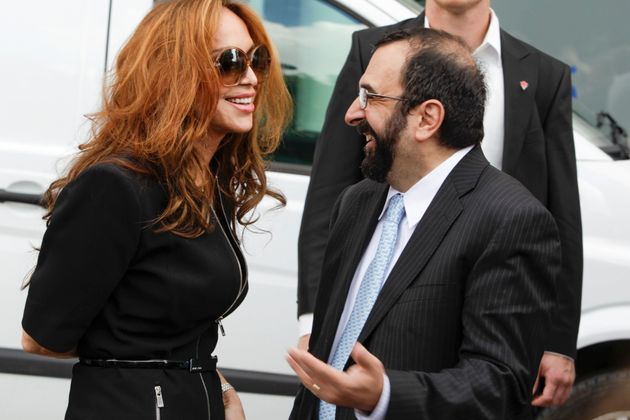 Anti-Islam activists Pamela Geller and Robert Spencer chat ahead of an anti-Islam demonstration in Stockholm,...