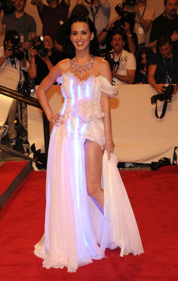 """Wearing a CuteCircuit LED gown at the Met Gala to celebrate the opening of the """"American Woman: Fashioning a National Identit"""