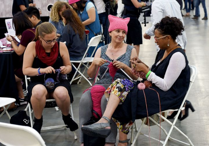 "Women knit ""pussy hats"" at the XXX panel during Politicon at Pasadena Convention Center on July 30, 2017, in Pasa"