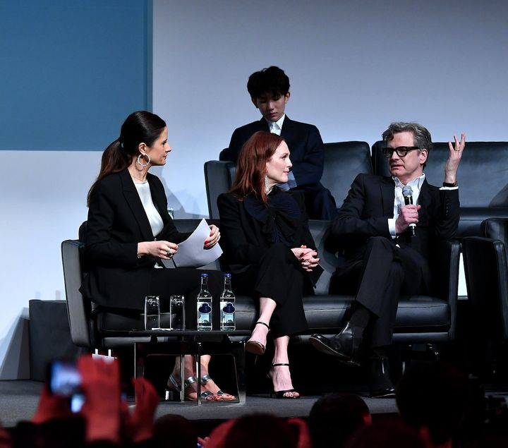 Livia Firth, Julianne Moore and Colin Firth during a Chopard Press Conference at Baselworld 2018 on March 22, 2018 in Basel,