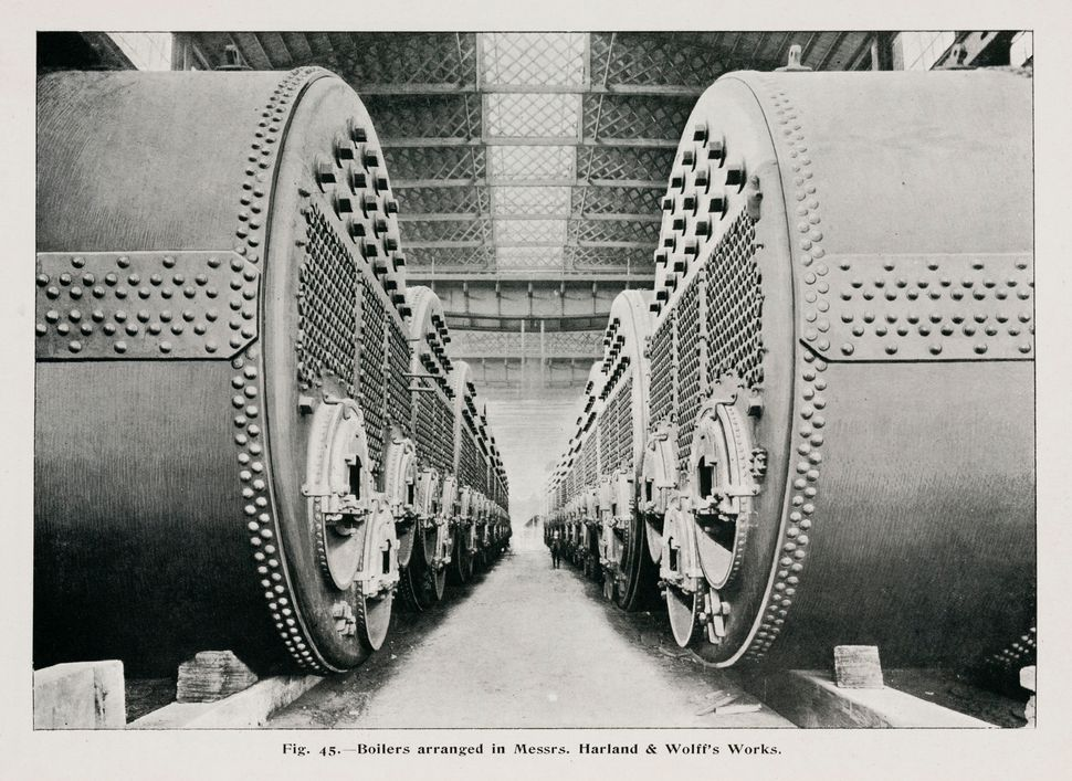 The boilers of the White Star liner Olympic, the largest vessel in the world at the time. It  was launched on Oct. 20, 1