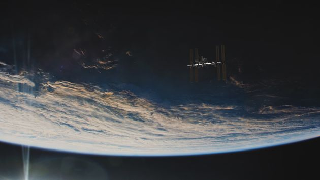 The International Space Station, as seen against the